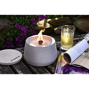 DAS PERFEKTE GESCHENK: Beske-Betonfeuer mit 'Dauerdocht' | Durchmesser 14cm mit Bauch | Wiederbefüllbare Gartenfackel | 'Unendliche' Brenndauer durch umweltfreundliches Recycling von Kerzenwachs