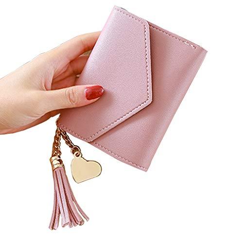 Ragazze Donne Mini Coin titolare della carta di credito della borsa della chiusura lampo della cassa di carta moneta borsa del cambiamento Wallet (colore rosa)