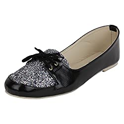 Authentic Vogue Womens Party Wear Shiny Black Loafer 8 UK