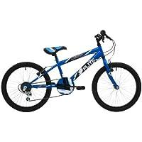 """Flite Maniac Boys' Kids Bike Blue, 11"""" inch steel frame, 6-speed 20"""" black alloy rims steel v-brakes"""