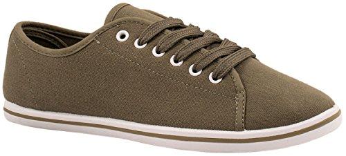 Elara Basic Sneakers | Sportlich Bequeme Turnschuhe | Low Schnürer Dunkel Grün 40 (Vorne Grün Dunkel)