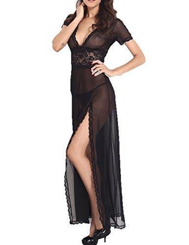 Tammy style Plus Size Mesh und Lace V-Neck Dessous Kleid (XXL, Schwarz) (Jock Kostüm Für Mädchen)