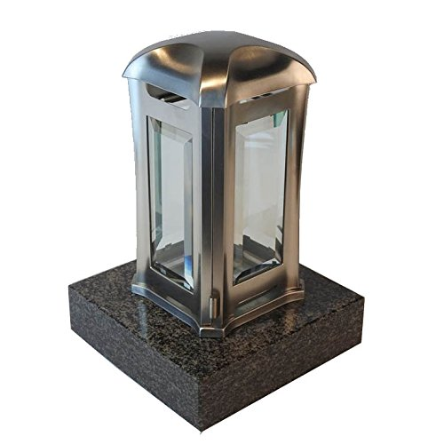 designgrab ael5agb 1nero Lampe tombale Venezia en Acier Inoxydable, Argent, 13 x 13 x 24 cm