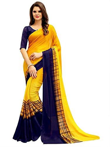 Kamela Saree Georgette Saree With Blouse Piece (_Yellow_Free Size)