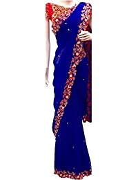 Isha Enterprise Women's Georgette Blue Thread Work Designer Saree