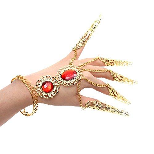 LAMEIDA Schmuck Hand Dekoration Handgelenk Ketten Bauchtanz Armband Handkette Vergoldet Armreif Ring Handschmuck für Bauchtanz Vergoldet Armreif Ring