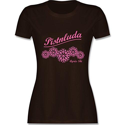 Après Ski - Pistnluda - Schneeflocke pink - tailliertes Premium T-Shirt mit Rundhalsausschnitt für Damen Braun