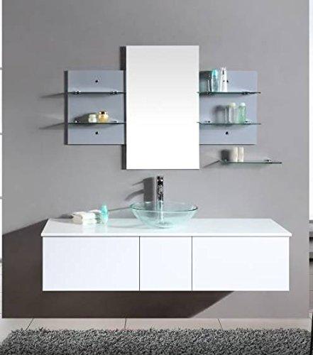 Mobile arredo bagno sofia da 140cm sospeso bianco con lavabo d'appoggio e specchio con mensole mobili