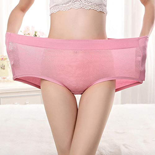 JFHGNJ Plus Size High Waist Panties für Frauen Unterwäsche Damen Modal Slips Big Size Floral Elastic Large Size Cotton Panties Weiblich-Dunkelviolett_XXXL - 3