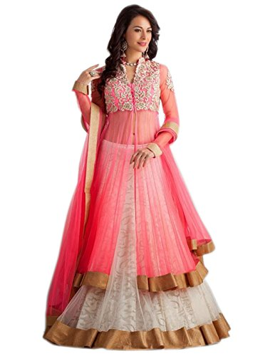 Surat Tex Light Pink & White color Net & Raw Silk Embroidered Party Wear Western Lehenga Choli