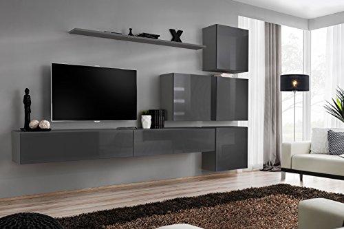all4all Wohnwand mit LED Beleuchtung Hochglanz TV Board Anbauwand Schrankwand Fernsehwand Wohnzimmerset Lowboard Kleine Wohnwand Fernsehschrank TV Lowboard