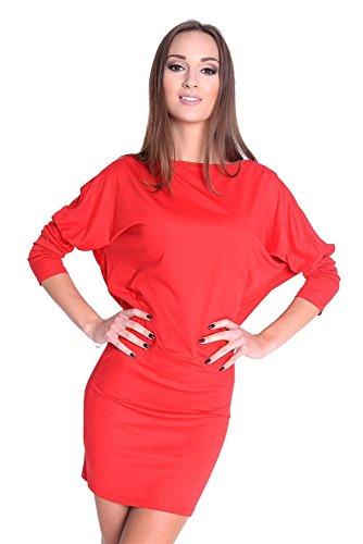 Damen Shirt Top Oberteil Kleid Dress Longshirt Minikleid mit Fledermausärmel, verschiedene Farben, Gr. XS S M L XL 2XL 3XL Koralle
