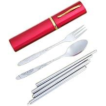 TOOGOO (R) Estuche para cubiertos de 3 piezas (acero inoxidable)