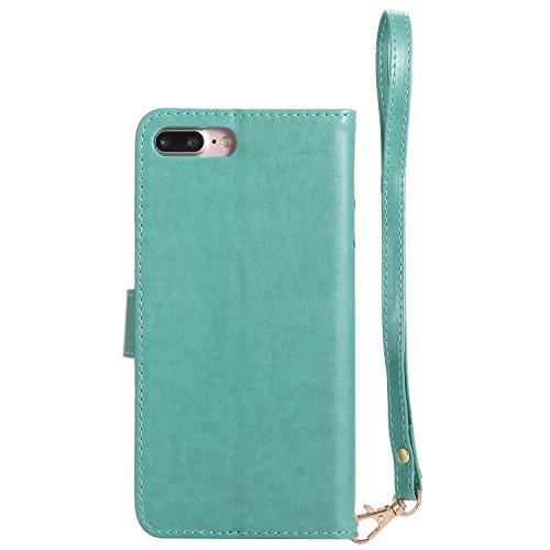Qiaogle Téléphone Coque - PU Cuir rabat Wallet Housse Case pour Apple iPhone 6 / iPhone 6S (4.7 Pouce) - KT25 D'or / Fille + Oiseau + Chat KT30 Vert / Fille + Oiseau + Chat