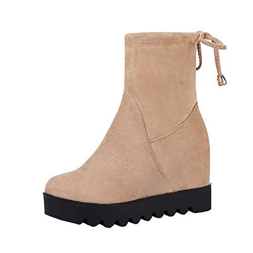 Y2Y Studio Bottes Femmes Plateforme Confortables Fashion Talons Compenses  8cm Bout Rond Rétro Slip-on 058ddf886338