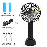 Mini Ventilatore USB Portatile - Silenzioso Aromatherapy Ventilatore con 2x 2000mAh Batteria Ricaricabile e Caricabatterie per Auto Casa Ufficio Viaggiare Campeggio - (3 velocità) Nero