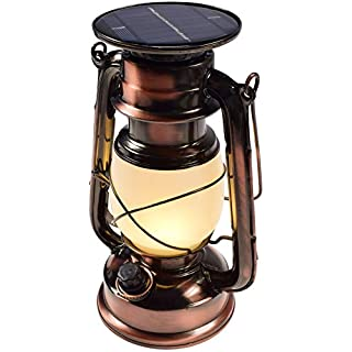 LED Solar Camping Laterne mit Bügel Akku I Retro Design I Dimmbar 23,5cm I Metall Gehäuse I Warmweiß