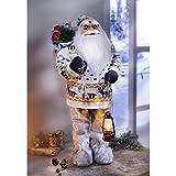 Unbekannt Weihnachtsmann 60cm mit LED Laterne Beleuchtung Weihnachten Deko Santa Claus