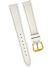 Fortis Swiss Reloj de pulsera piel blanco con costura blanca 16mm oro 8517