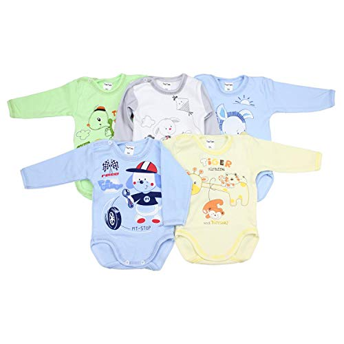 TupTam Unisex Baby Langarm-Body mit Aufdruck 5er Set, Farbe: Junge, Größe: 74