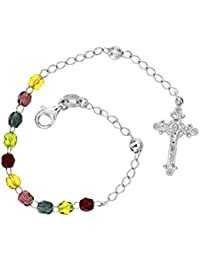 5592e48123f6 Rosario Pulsera Hombre Mujer con Cristo en Cruz en Plata 925 Pulseras  Rosarios Color Piedras Ajustable