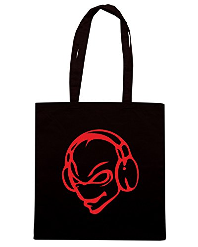 T-Shirtshock - Borsa Shopping FUN0546 alien disc jockey dj cartoon decal 43972 Nero
