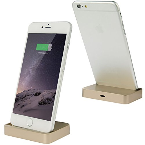 Coverlounge - Lightning Dockingstation/Dock/Ladestation [2.1 A] kompatibel mit Apple iPhone XS/X/XR/8/8-Plus/7/7-Plus/6s/6s-Plus/6/5/SE mit Lightning Anschluss | Farbe: Gold 2.1 Ipod-docking-station