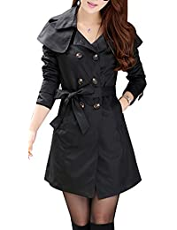 Yasong Women's Girls' Classical Long Sleeve Double Breasted Military Style Wind Coat Jacket Trench Coat With Belt