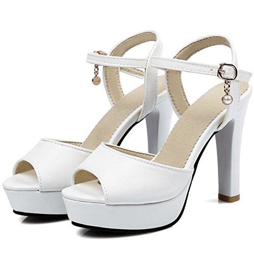 COOLCEPT Femmes Mode Sangle de Cheville Sandales Peep Toe Singback Plateforme Conique Chaussures Blanc