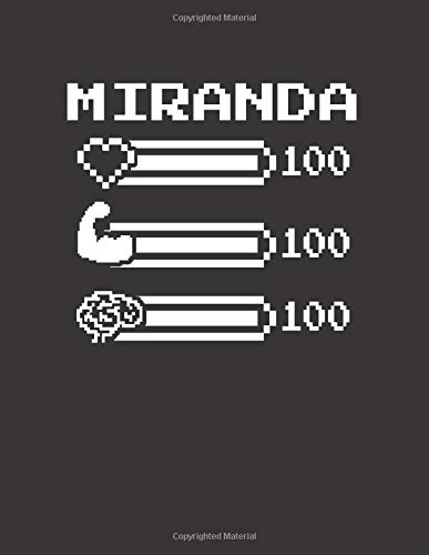 MIRANDA: Pixel Retro Game 8 Bit Design Blank Composition Notebook College Ruled, Name Personalized for Girls & Women. Gaming Desk Stuff for Gamer ... Gift. Birthday & Christmas Gift for Women.