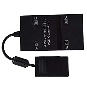 LinHut Bequemer Gamecontroller Multitap for PS2, 4-Spieler-Multi-Tap-Adapter-Anschluss mit 4 Speicherplätzen for Playstation 2 für Freizeit und Unterhaltung