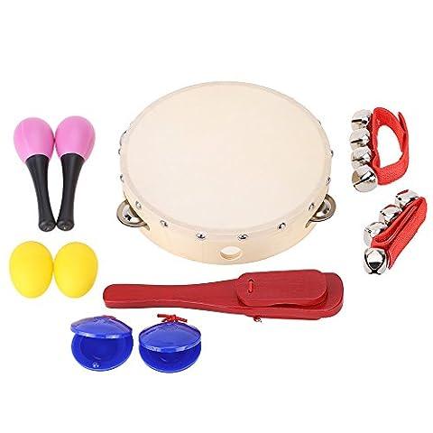 ammoon Secouez Jingle Bell Castanet Maraca Tambourin Percussion Kit de