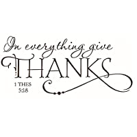 Cupcinu Wall Stickers In Everything Give Thanks Quote Wallstickers Removable Art Sticker Decal Mural Art Vinyl Quote Wall Stickers Wall Decorations for Bedrooms Living Room