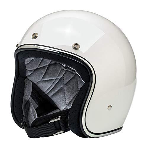 Casco Jet Abierto Bonanza biltwell Gloss White Blanco Brillante Aprobado Dot Helmet Biker Look Estilo Universal X Género Custom Vintage Retro años 70Off-Road Street L Bianco