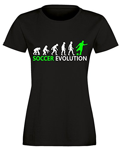 Soccer Evolution - Fußball Evolution - Football Evolution - Damen Rundhals T-Shirt Schwarz/Weiss-neongruen