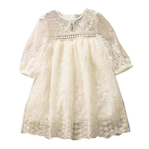 (CUTUDE Kleinkind Baby Mädchen Kleid Einfarbig Spitze Patchwork Kleider Kurzarm Tutu Urlaub Prinzessin Outfit Kleidung)