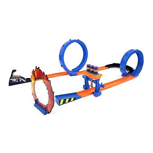 Mamatoy - Devil Jump - Pista de carreras para coches de juguete con dos loopings, aro de fuego, barriles y dos coches de juguete - Apto para niños de 3 años en adelante.