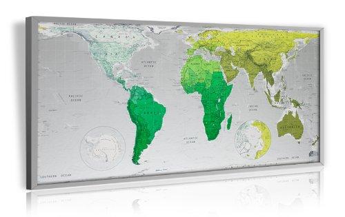 Pinnwand im Alurahmen: Design Weltkarte ( Salbei / Gold / Blau )