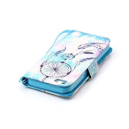 PU Leder Schutzhülle für iPhone SE iPhone 5 / 5S HB-Int 3 in 1 Rosa Book Style Case Brieftasche Kartenfächer Standfunktion Ledertasche Handyhülle Gemalt Etui Wallet Protective Cover Rundum Silikon Sch Traumfänger