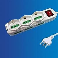 Enchufe múltiple, Regleta de 9 posiciones 6 italiana 3 schuko + interruptor Blanca cables 1+5M ExtraStar