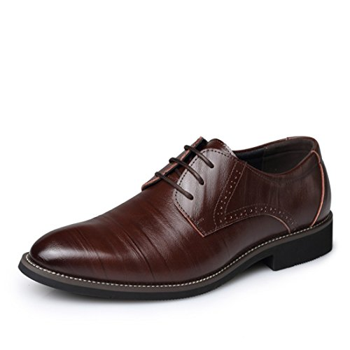 Men's Fashion Genuine Leather Lace Up Casual Flat Shoes brown