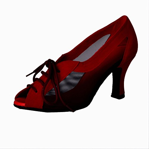 Jig Foo Latin Salsa Rumba Chacha Practice Ballroom Dance Shoes for Women,Red Nubuck,UK Size 9.5