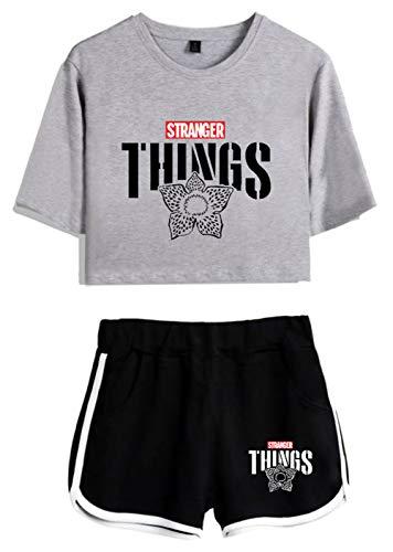 HUASON Stranger Things T-Shirt Shorts Charakter Druck Lässig Personalisiert Atmungsaktiv Schnelltrocknend Kurzarm Crop Top und Kurze Hose (XS)
