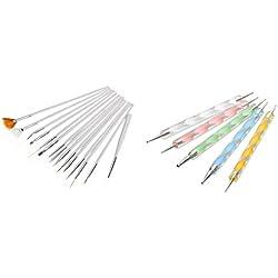JZK 20 pièces Nail art pinceaux stylos nail art dotting outils pour manucures et pédicures
