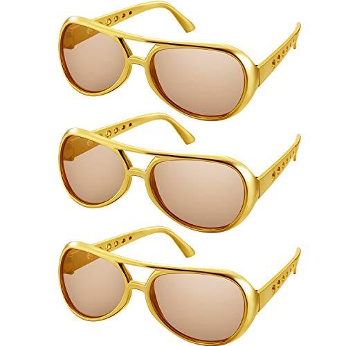 3 Paare Rockstar Brille Flieger Brille 50's 60's Gold Rahmen Sonnenbrille Klassisch Kostüm Zubehör für Rock Thema Party Halloween Gefälligkeiten