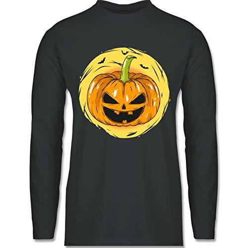 Shirtracer Halloween - Halloween Kürbis Gesicht - Herren Langarmshirt Dunkelgrau