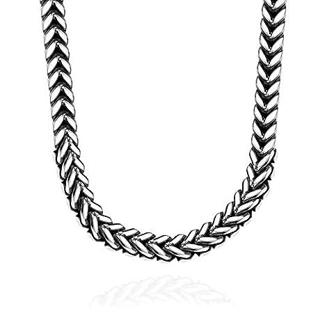 amdxd Jewelry Edelstahl Kette Halsketten für Männer Silber Classic Herz Design Halskette
