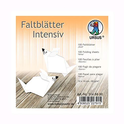 Kreativpapier - Origamipapier - Uni Intensiv Weiß - 100 Blatt - 20 x 20 cm -