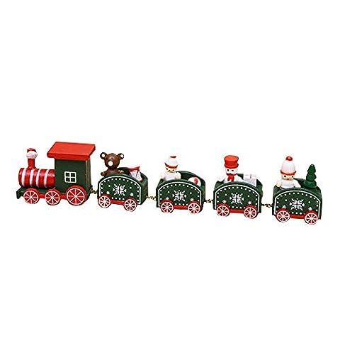 pannow 5Stück Cute Cartoon Weihnachten Xmas Holzeisenbahn-Set für Kleinkinder Ornament Dekoration Geschenk Spielzeug Größe S grün