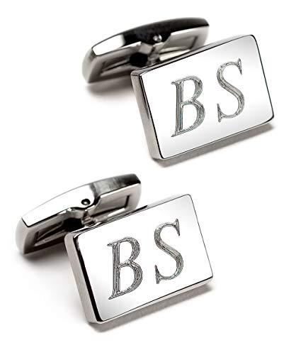 Manschettenknöpfe mit Text-Gravur - echte Diamantgravur - rechteckig, Silber glänzend - Initialen gravieren Lassen